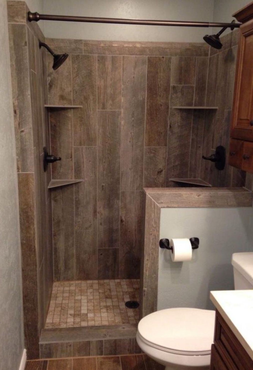 Wood Look Tile In Shower Vertical Installation Small Rustic