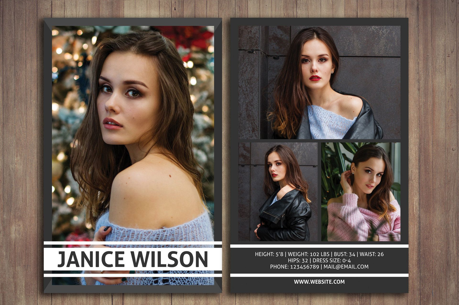 Modeling Comp Card Comp Card Template Photoshop Template Etsy Model Comp Card Photoshop Photoshop For Photographers
