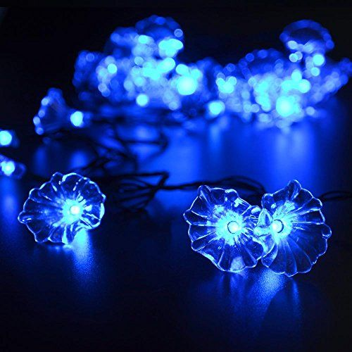 LuckLED Flower Solar Christmas Lights, 16ft 30LED Morning Glory - solar christmas decorations