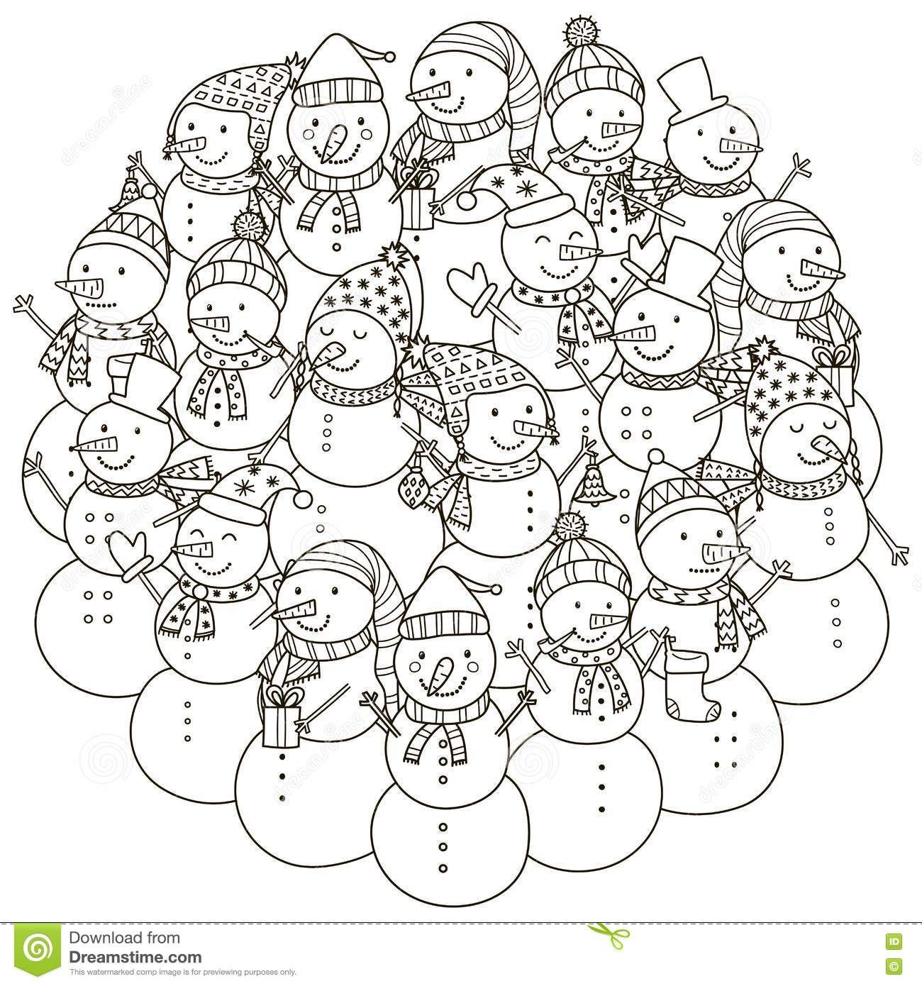Circle Shape Pattern With Cute Snowmen For Coloring Book Stock Vector Image 76150453 Coloring Books Pattern Coloring Pages Coloring Pages