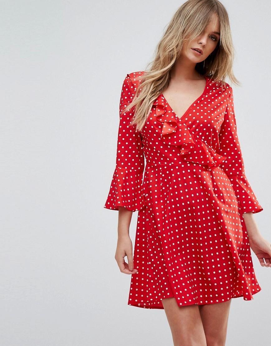 25e9833922a  ASOS -  Influence Influence Polka Dot Ruffle Wrap Dress - Red - AdoreWe.com