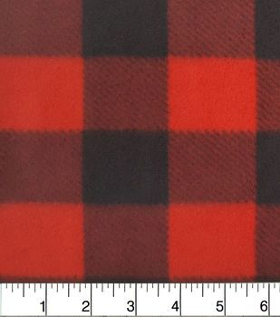 Anti Pill Fleece Fabric-Red Buffalo Check