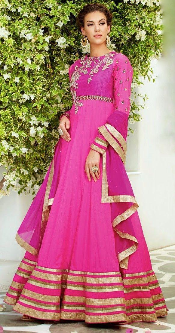 8f480ce254 Hot Pink and Gold Embroidered Anarkali | Anarkalis at Lashkaraa ...