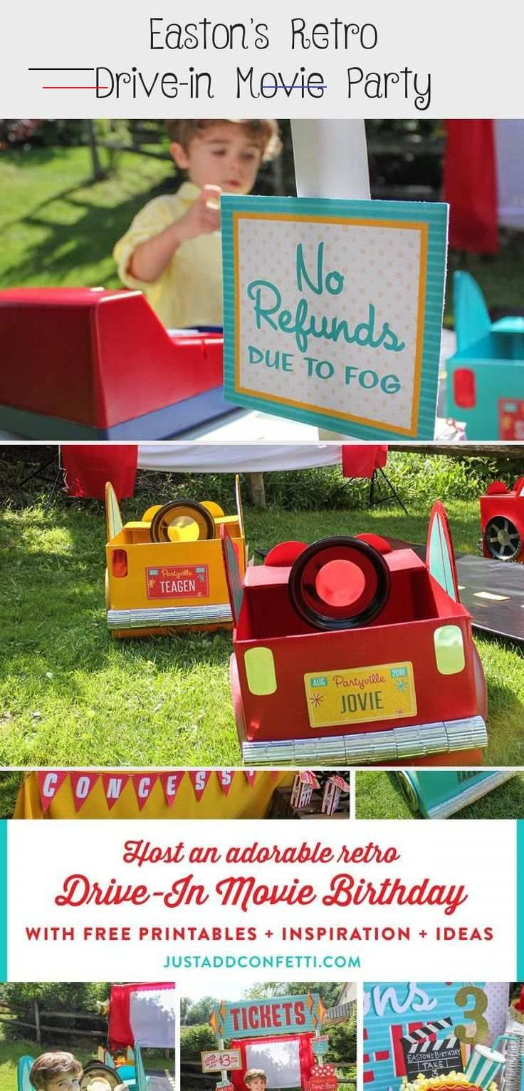 Host an adorable Retro Outdoor Drive-In Movie Party! Compete with movie party ideas and inspiration as well as free printables. DIY cardboard box cars tutorials perfect for an outdoor movie night or birthday party. Also adorable movie night thank you tag free printables and even license plate free printables! #movienight #drivein #driveinbirthdayparty #summerparty #summerbirthday #kidsbirthday #cardboardboxcars #DIYboxcars #freeprintable #kidmoviesCostumes #kidmovies2019 #kidmoviesNightIdeas #80
