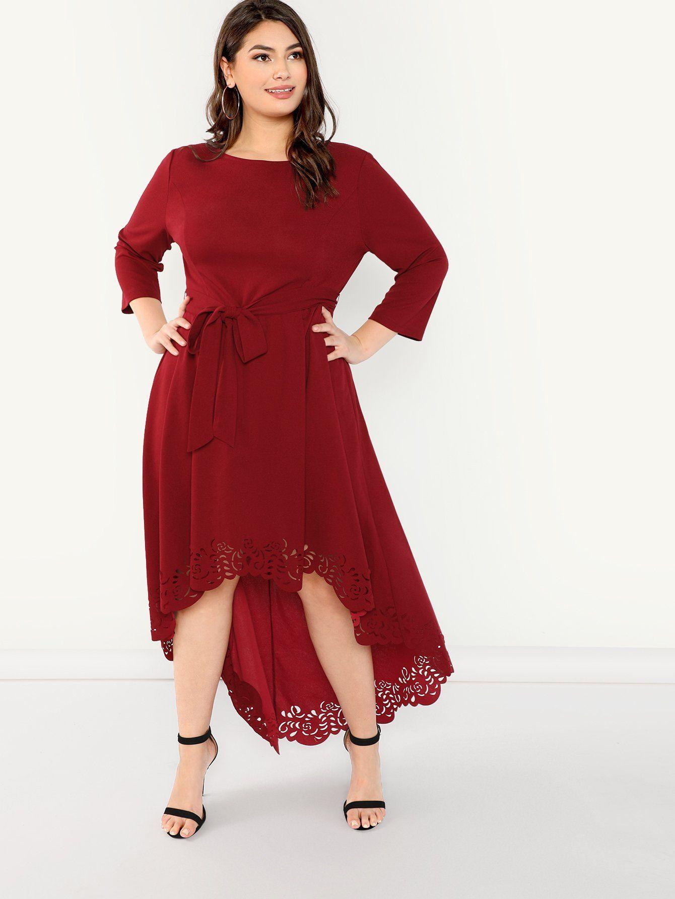 bf641a930a8 Plus Size Scallop Trim Laser Cut High Low Burgundy Dress Multi Sizes ...