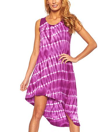 This Purple Tie-Dye Hi-Low Sleeveless Dress by Quest is perfect! #zulilyfinds