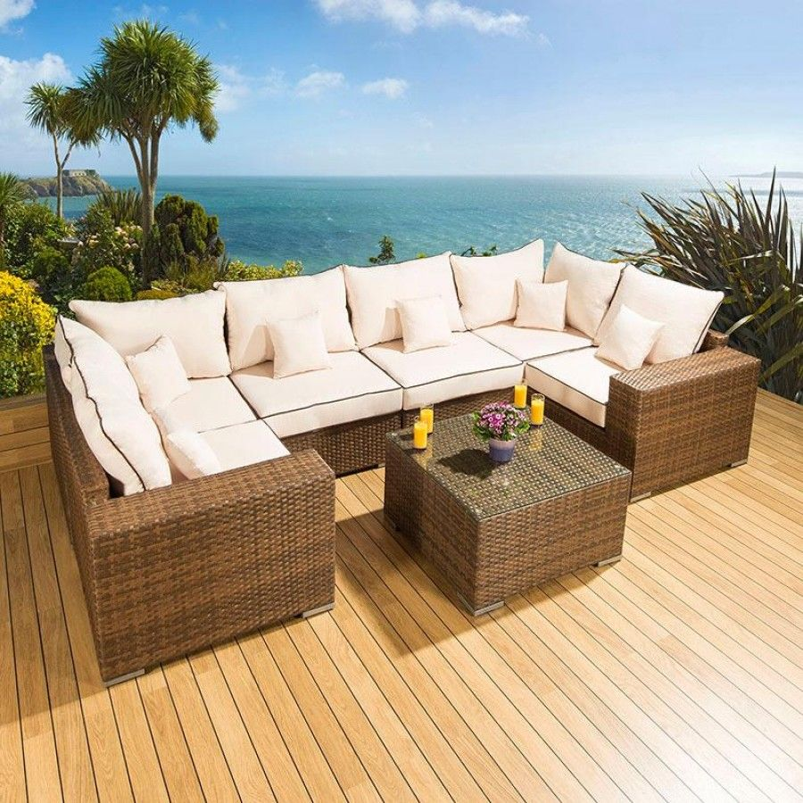 luxury outdoor garden u shape corner sofa set group brown rattan cream truly stunning luxury