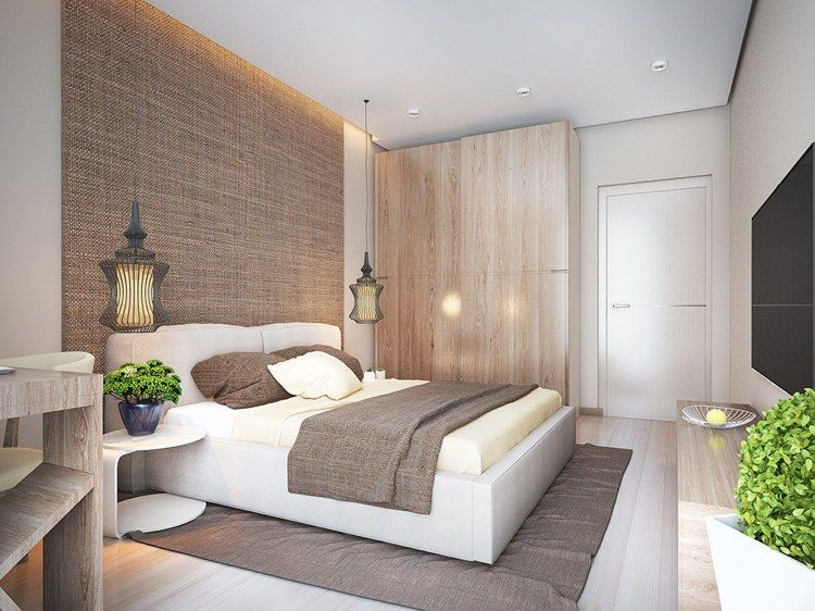 Schlafzimmer in weiß und beige - helles Holz und grober Stoff - schlafzimmer braun beige