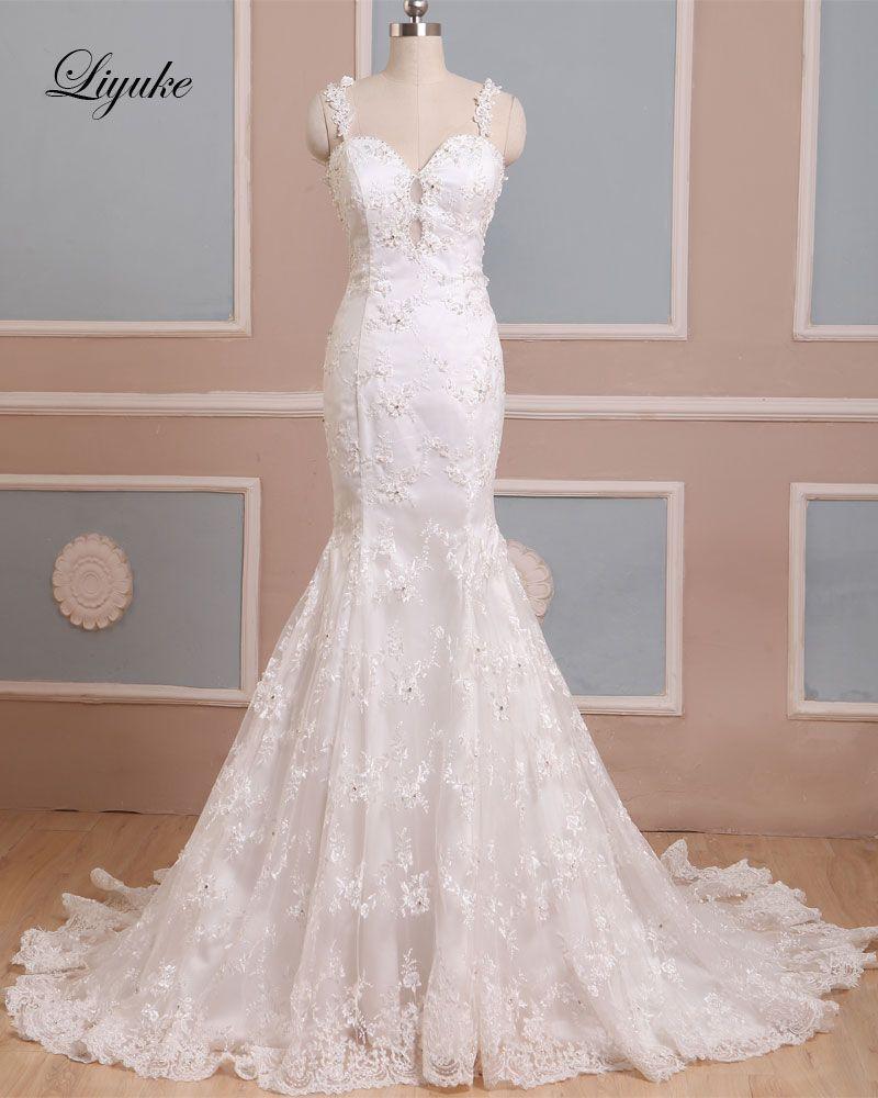 Beaded spaghetti strap wedding dresses  Attarctive Lace Beading Pearls Appliques Mermaid Wedding Dresses