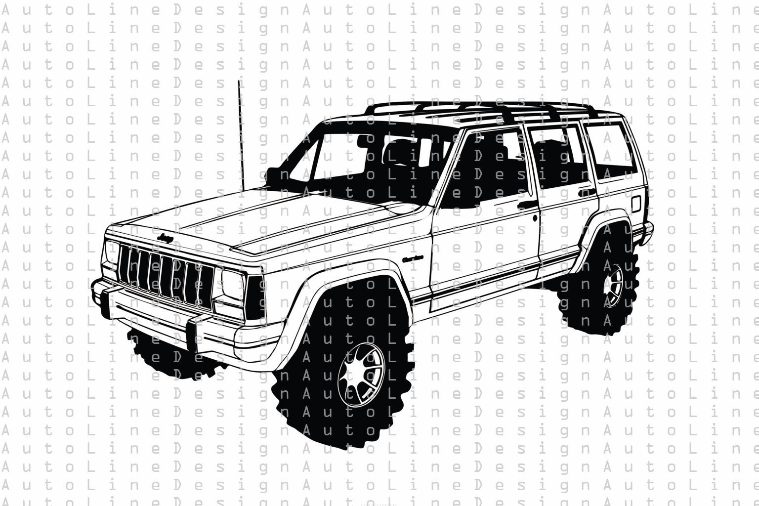 Jeep Cherokee Xj Offroad 4x4 Lifted Svg Pdf Dxf Eps Png Etsy In 2021 Jeep Cherokee Jeep Car Vector