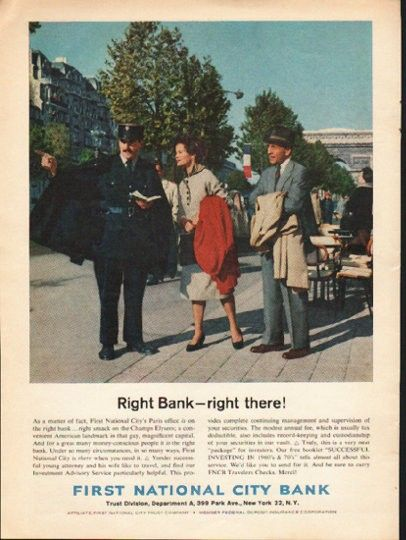 1962 First National City Bank Vintage Ad Right Bank Buy Life