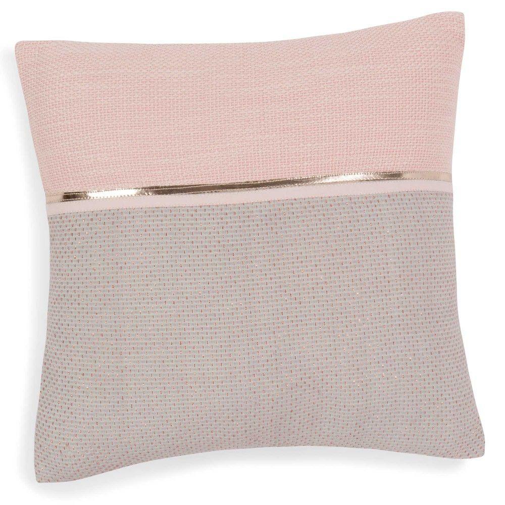 Housse de coussin en coton rose gris 40 x 40 cm pink for Housse de coussin design