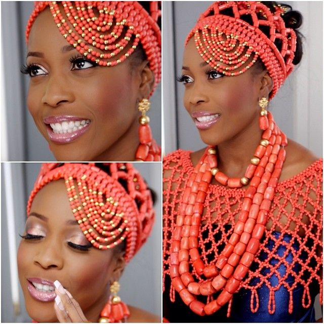 Weddings Beauty And Attire: African Beauty Galore: Red Coral Beads And Nigerian Brides