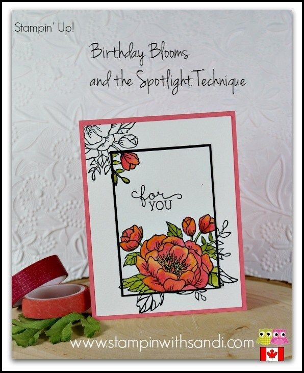 Hi Stampers, I have something fun for you today the Spotlight Technique with Birthday Blooms by Stampin Up. Heather and I receive inquiries about what Stamping and Blogging is all about, and what is i