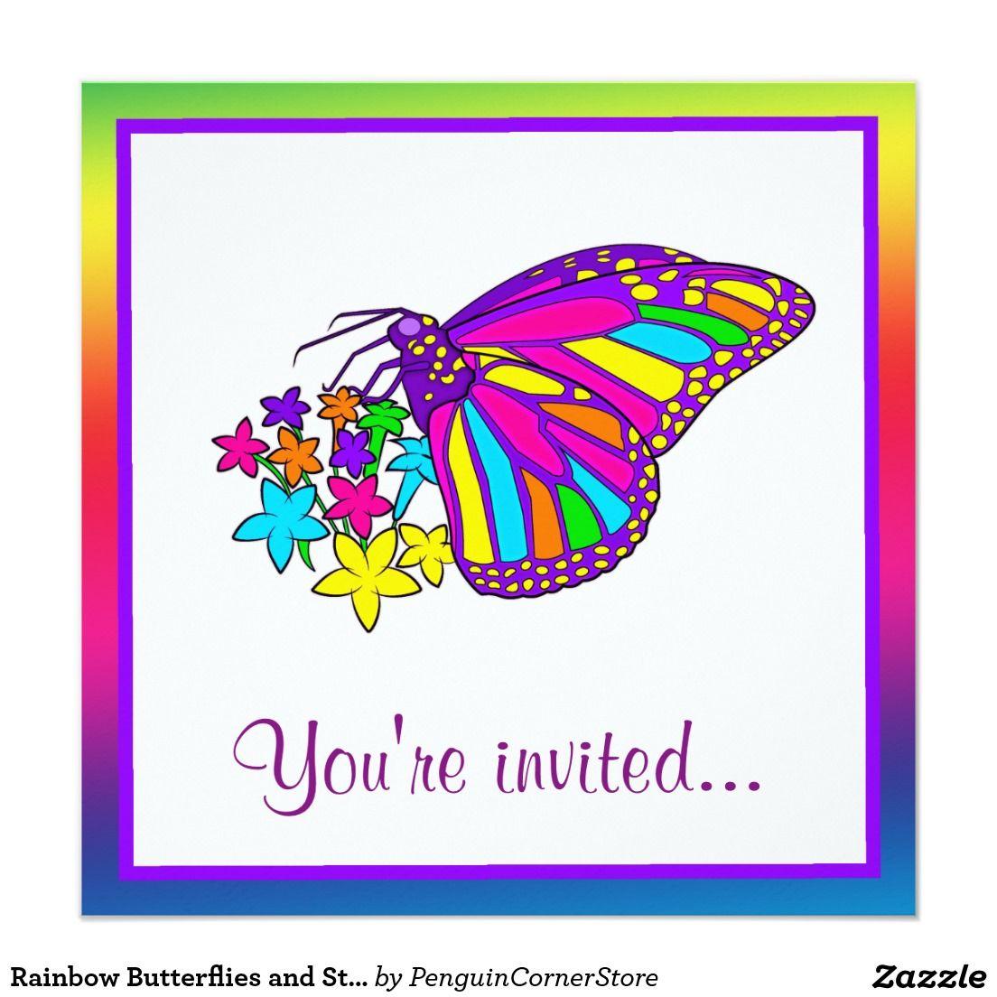 Rainbow Butterflies and Starflowers Birthday Party Invitation ...