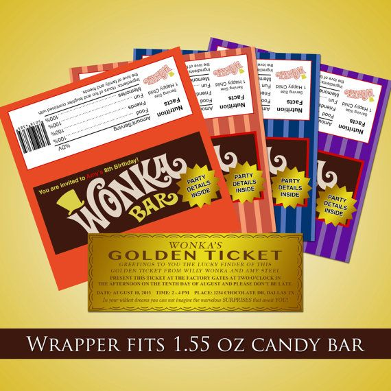 Wonka bar golden ticket birthday invitation by redvelvetparties wonka bar golden ticket birthday invitation by redvelvetparties filmwisefo Images