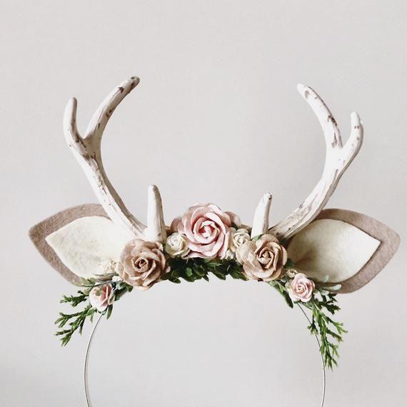 Reindeer antlers headband, animal ears headband, flower crown, woodland headband, deer headband, deer ears headband, fawn headband #babyheadbands