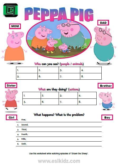 Peppa Pig Worksheet ESL Movies Pinterest Worksheets