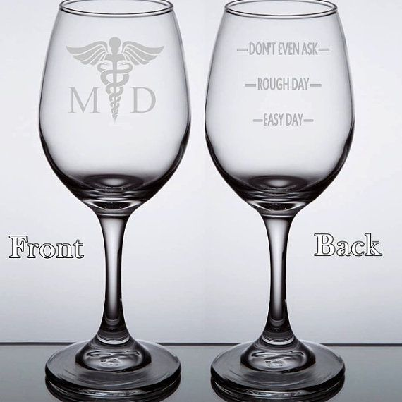 Etched Wine Glasses Medical Doctor MD Etched 20oz by TipsyGifts