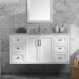 shop allen roth floating white single sink vanity with carrara natural marble top common 48 in x 20 5 in at lowes com