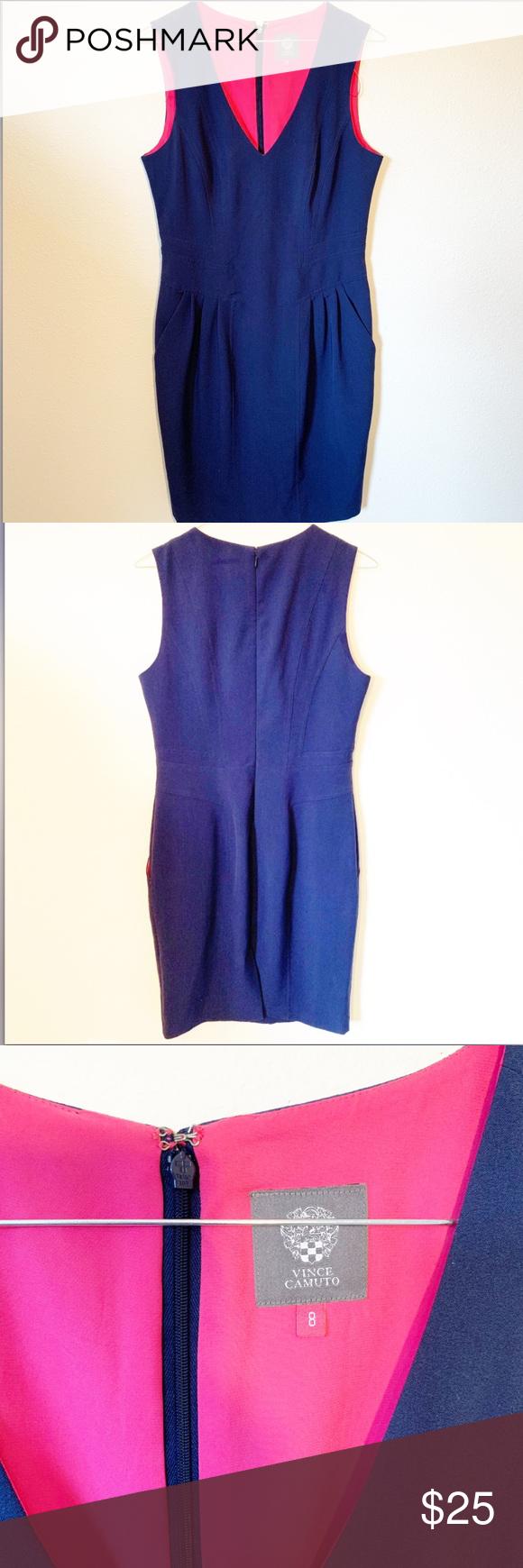 Vince Camuto Navy Blue Dress Clothes Design Fashion Navy Blue Dresses [ 1740 x 580 Pixel ]