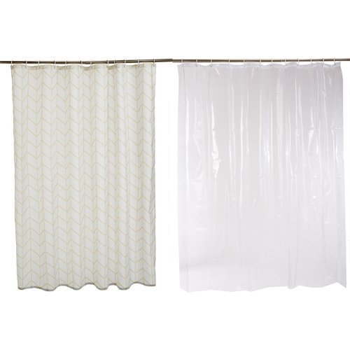 Amazon Com Amazonbasics Shower Curtain With Hooks 72 X 72 Inch