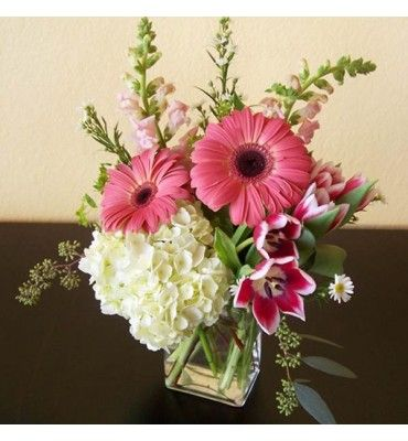 A Contemporary Spring Fresh Flower Arrangement Designed In A