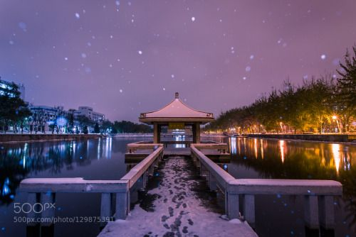 the First Snowfall of winter by Clinkz  city ice night sky snow trees white winter Clinkz