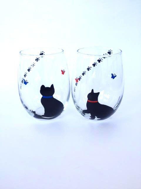 hand painted 18oz black cats Cat Pals wine Glass no stem stemless