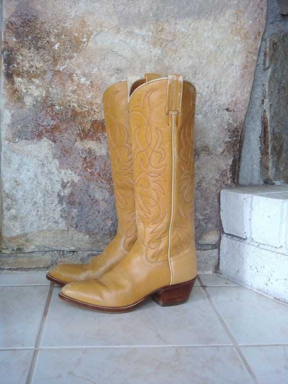 f04bba354ed 70s TALL COWBOY BOOTS vintage distressed tan leather wooden stacked ...