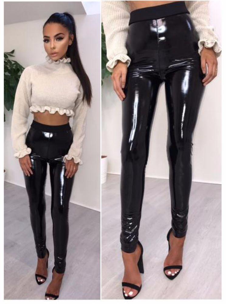 2f0f2ccbf46cef Womens Black PU High Waisted Vinyl Skinny Shiny Wet Look Leggings Trousers  Pant