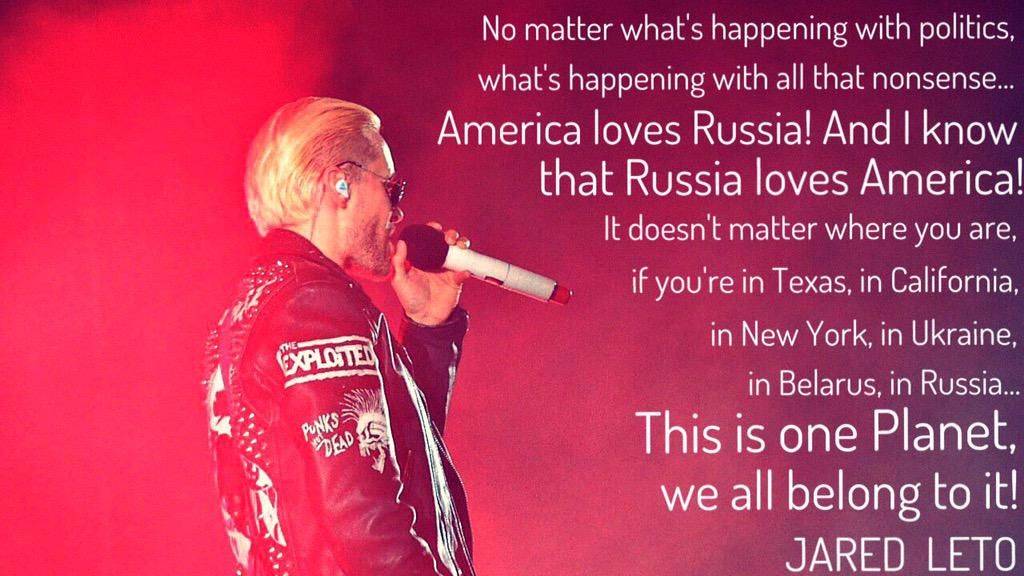 America loves Russia! And Russia loves America!  @JaredLeto @30SECONDSTOMARS #MarsInRussia #LoveLustTour