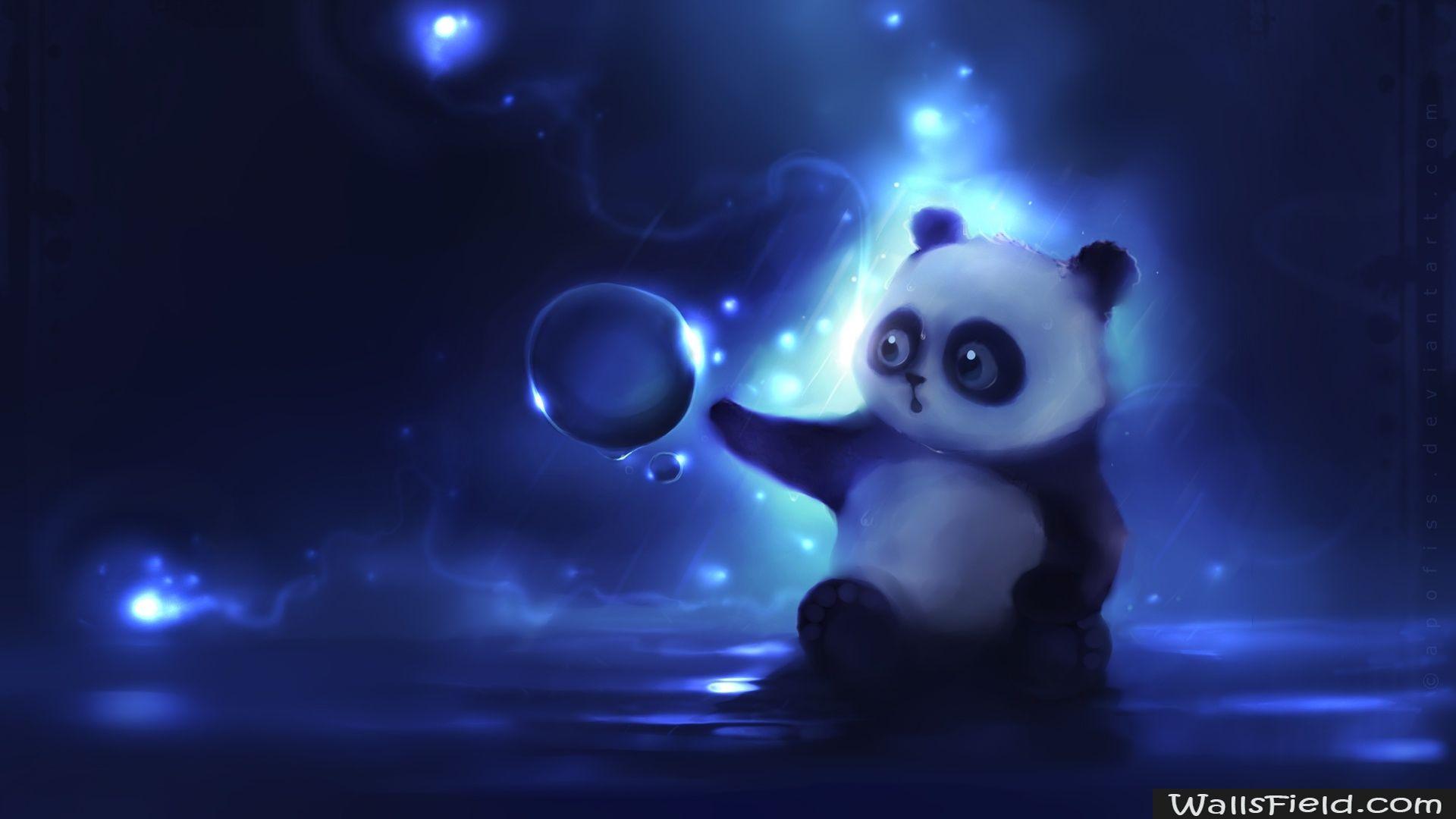 Curious Panda Painting Llustrat Ons Oboi Illyustracii Kartinki