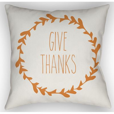 """Alcott Hill Amesville Indoor/Outdoor Throw Pillow Size: 20"""" H x 20"""" W x 4"""" D, Color: White/Orange"""