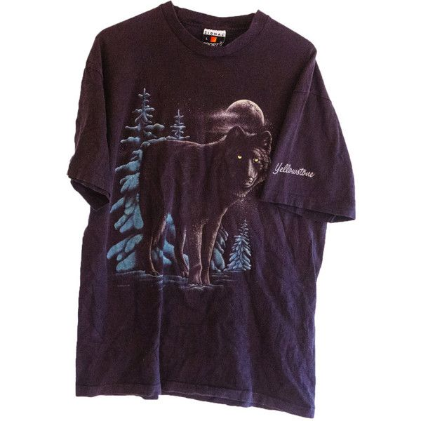1990 Vintage Wolf Yellowstone T-shirt Under Moon in Forrest (€23) ❤ liked on Polyvore featuring tops, t-shirts, shirts, tees, purple tee, purple top, vintage shirts, t shirts and purple shirt
