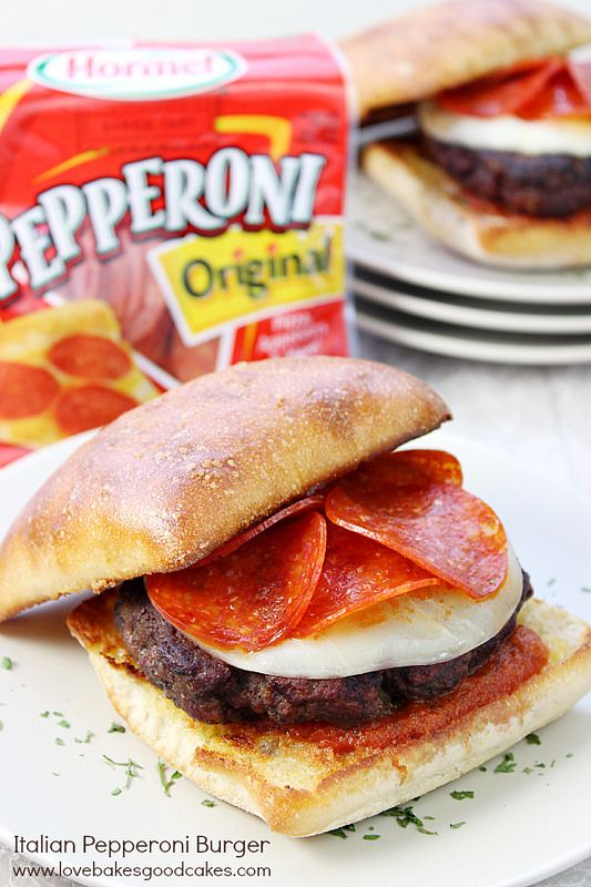 With warmer weather on the horizon, it's time to get ready for burger season! Pep up that boring burger with this easy to make, Italian Pepperoni Burger! It's big on flavor! #PepItUp #ad