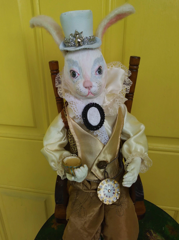 White Rabbit In The Top Hat Art Doll Alice In Wonderland