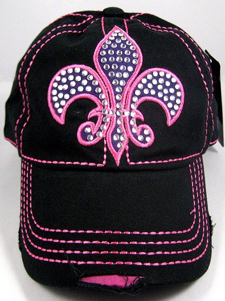bf8e04f79 Rhinestone Fleur de Lis Baseball Caps Vintage Bling Women's Hat ...