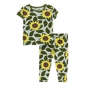 180294fe947 Kickee Pants Tuscany pajama set short sleeve aloe sunflower – Zandy Zoos