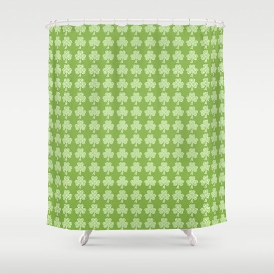 Greenery Shamrock Clover Polka dots St. Patrick\'s Day Shower Curtain ...