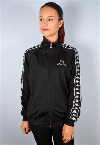 3b62d6e850 Kappa+Womens+Vintage+Tracksuit+Top+Jacket+Large+Black+90's ...