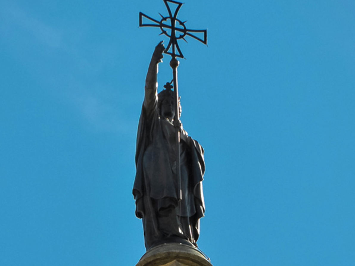 This Is A Statue Of Saint Helena It Is On Top Of The Cimborio Of The Cathedral Of Barcelona The Two Reason Jesus On The Cross Constantine The Great St Helena