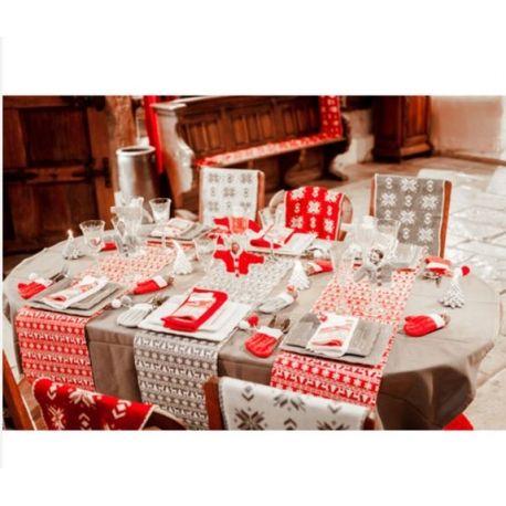 Chemin de table jaquard rouge et blanc 28cmx5m en toile de jute d coration de d coration - Chemin de table rouge mariage ...