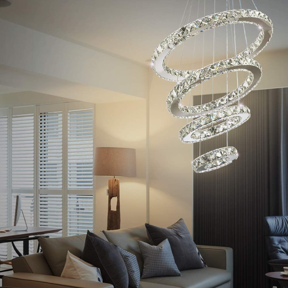 Dixun Crystal Chandeliers Modern Led 4 Rings Pendant Light Adjustable Stainless Steel Ceiling Light Fi Ceiling Lights Ceiling Pendant Lights Living Dining Room