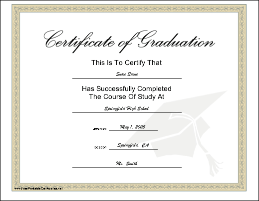 A diploma recognizing completion of a course of study The tan – Graduation Certificate Template Free