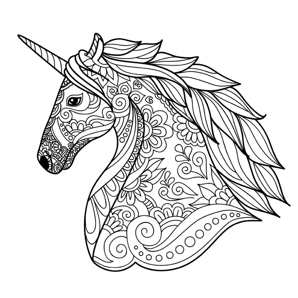 Unicorn Coloring Pages For Adults Easy