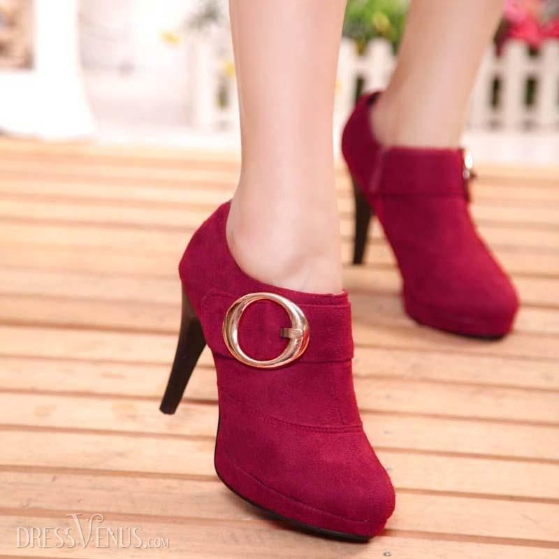 Recommended section simple suede high-heeled red shoes and ankle boots