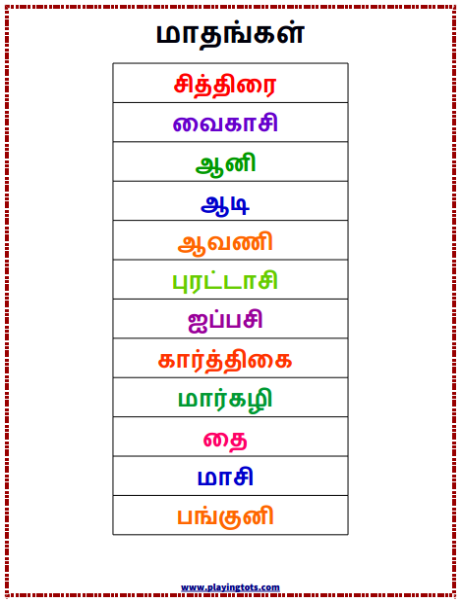 மாதங்கள் (Months Of The Year) Keywords:Free,printable,learn,playtime,ki…  English Worksheets For Kids, Free Kindergarten Worksheets, Printable Preschool  Worksheets