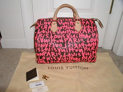 0083b65160b5 LOUIS VUITTON GRAFFITI SPEEDY 30 STEPHEN SPROUSE PINK FUSHIA LIMITED  EDITION BAG