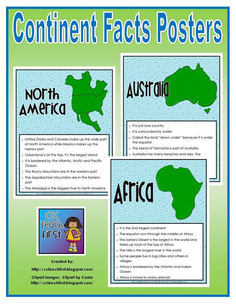 Continent Facts Sheets/Posters | Learning/School ~ Geography ...